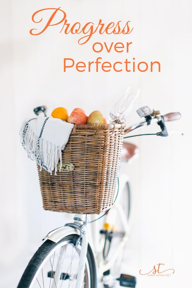 Anyone else need this reminder? It's about progress, not about perfection. Here's one way to use this cliche to meet your goals. #goals #progress #perfection #tgif #sarathomas Sara Thomas Coach